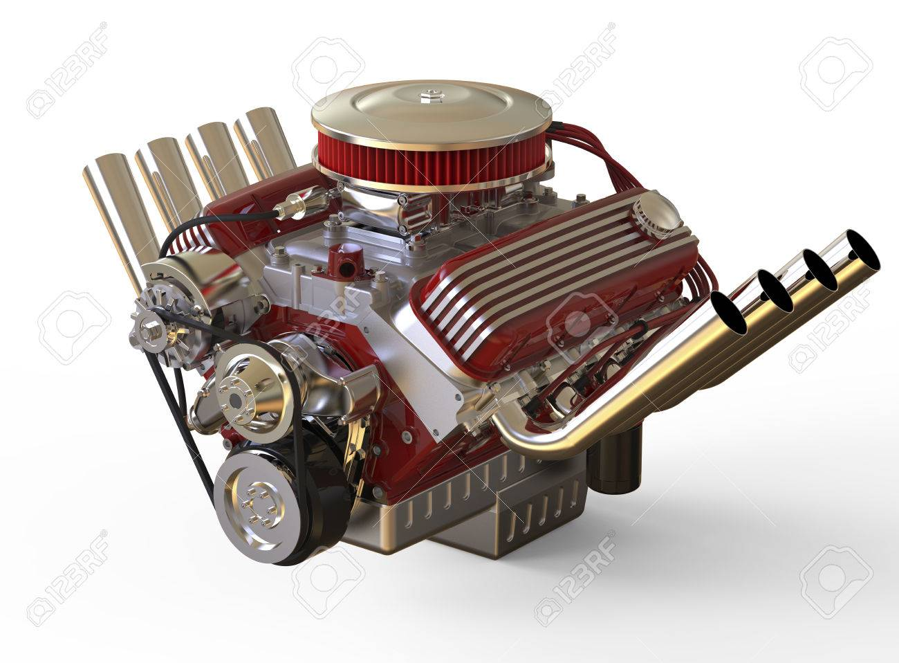 Hot rod V8 Engine Isolated on White. 3D render Stock Photo - 65945523