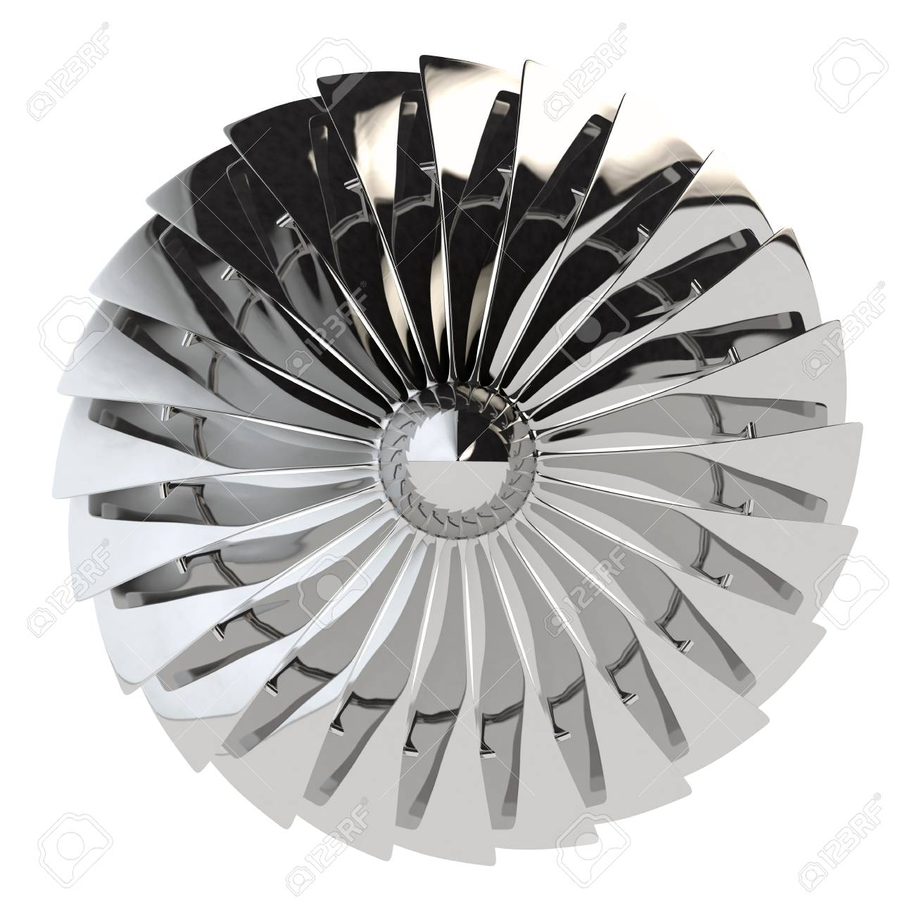Jet engine, turbine blades of airplane, 3d render Stock Photo - 89887864