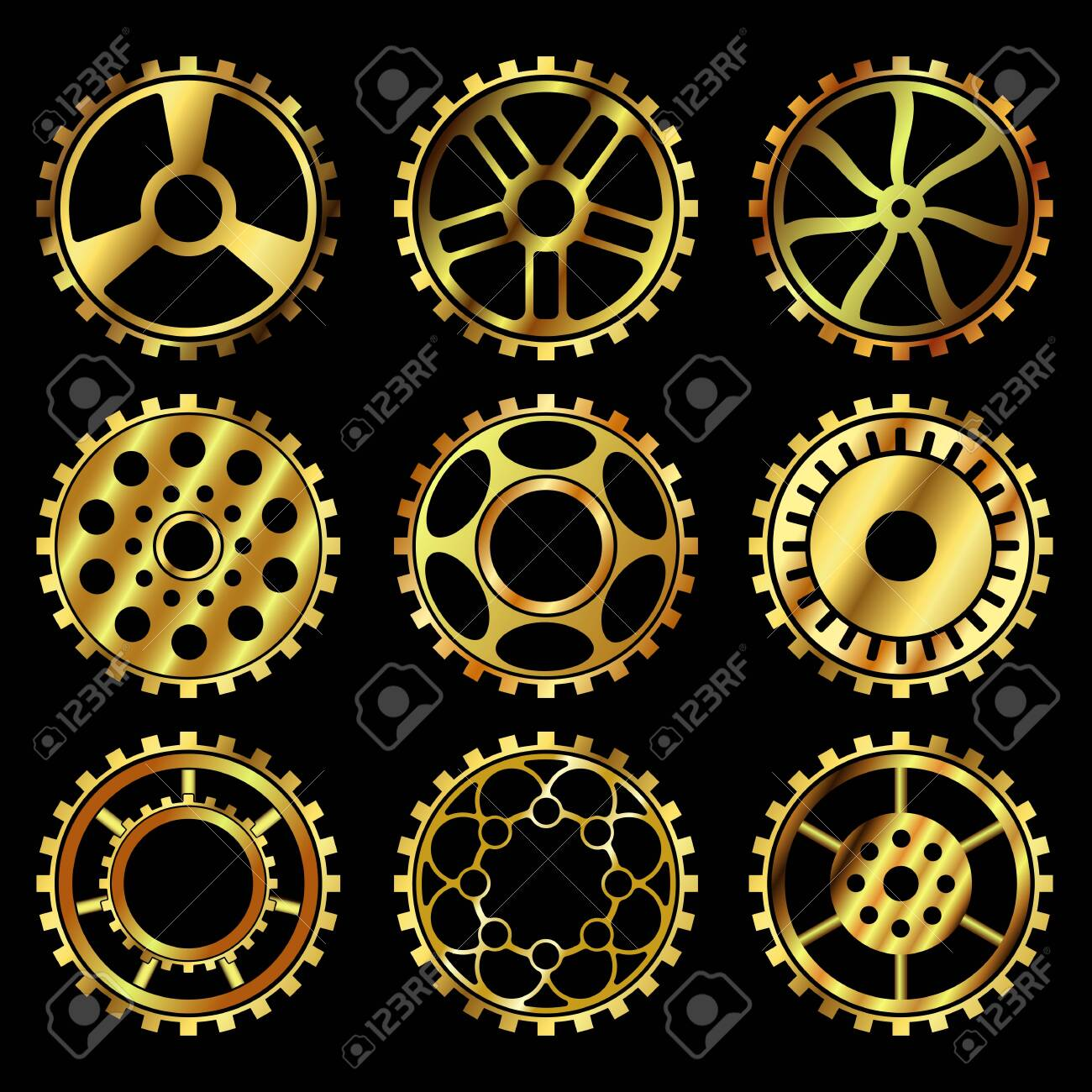 Vector golden gears set in the style of steampunk vector - 123962431
