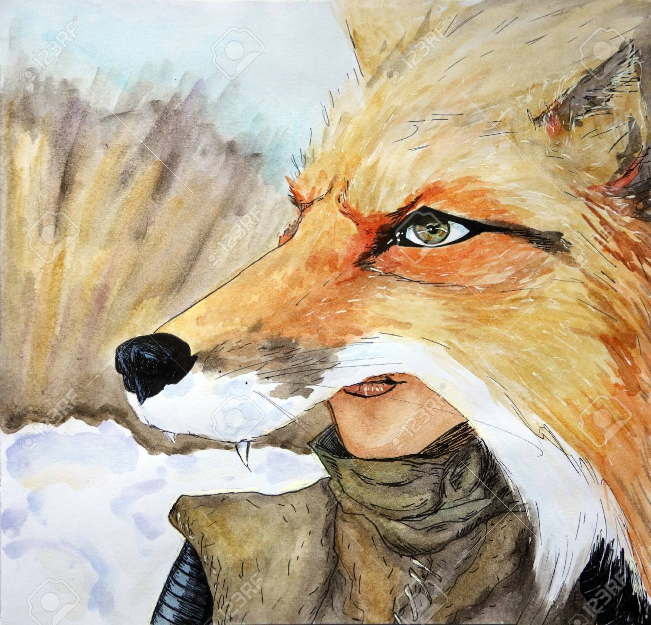 forest witch shifting her shape into a giant fox in the snowy