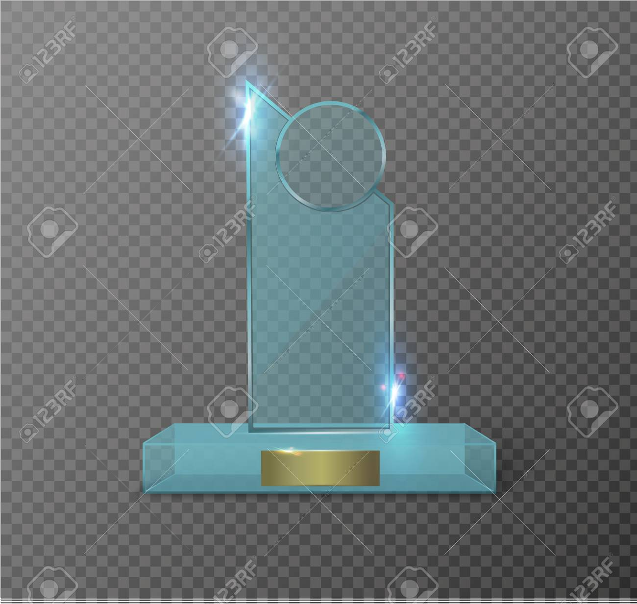 Blank glass trophy award on a transparent background