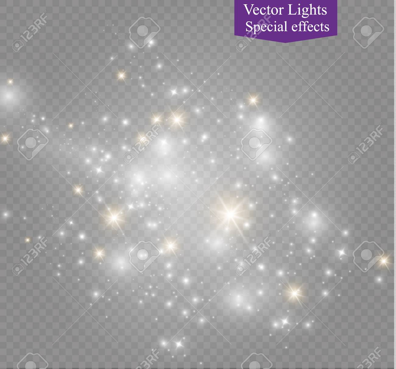 Dust on a transparent background bright stars The glow lighting