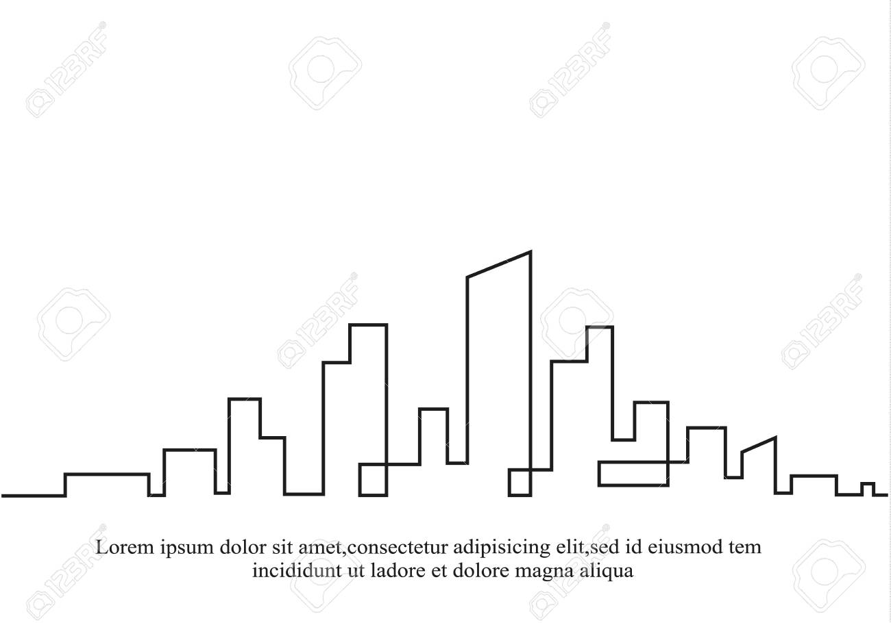City silhouette outline image illustration - 97571652