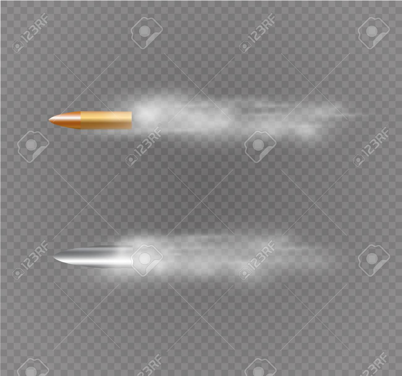 Flying bullet with dust trail. Isolated on black transparent background. Vector illustration. - 104737540