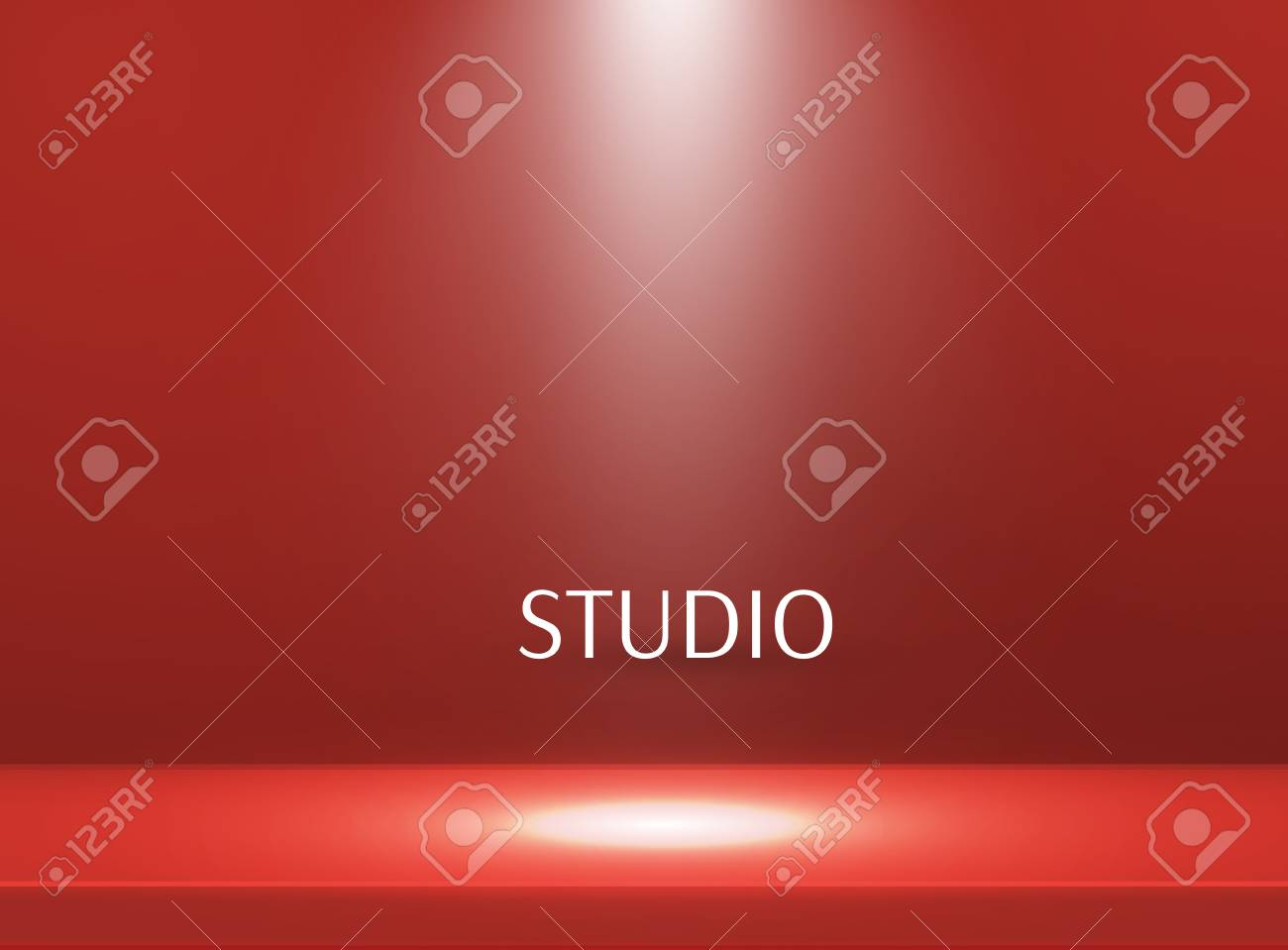 Empty bright color studio table, banner for advertising. Vector illustration - 120935247