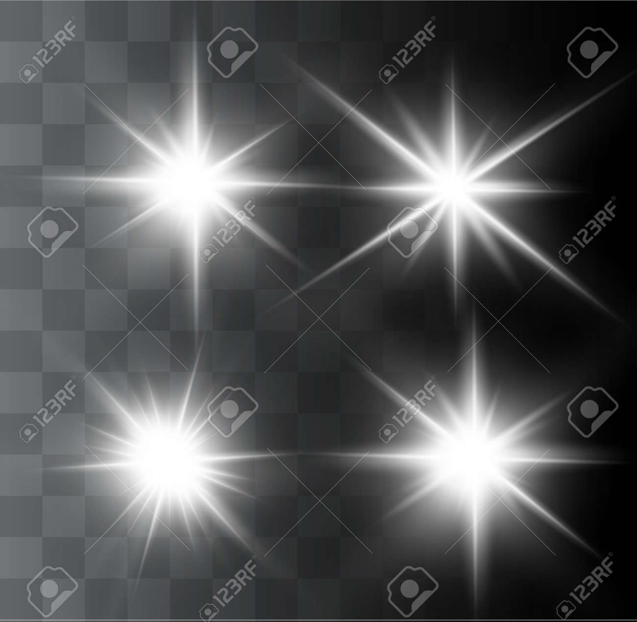 A beautiful glowing light explodes on a transparent background. Glittering magic dust particles. Bright Star. Transparent shining sun, bright flash. Vector sparkles. In the center of a bright flash. - 122125567