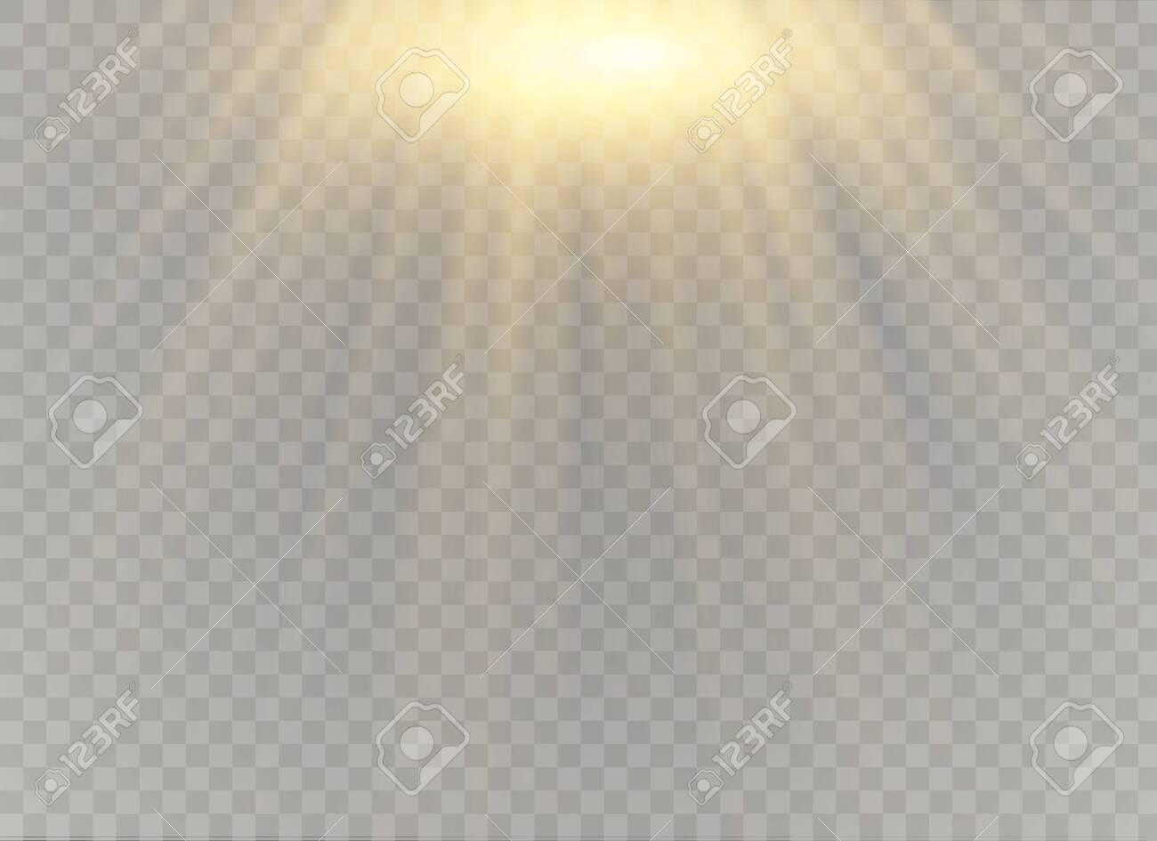 Vector transparent sunlight special lens flash light effect.front sun lens flash. Vector blur in the light of radiance. Element of decor. Horizontal stellar rays and searchlight. - 129012604