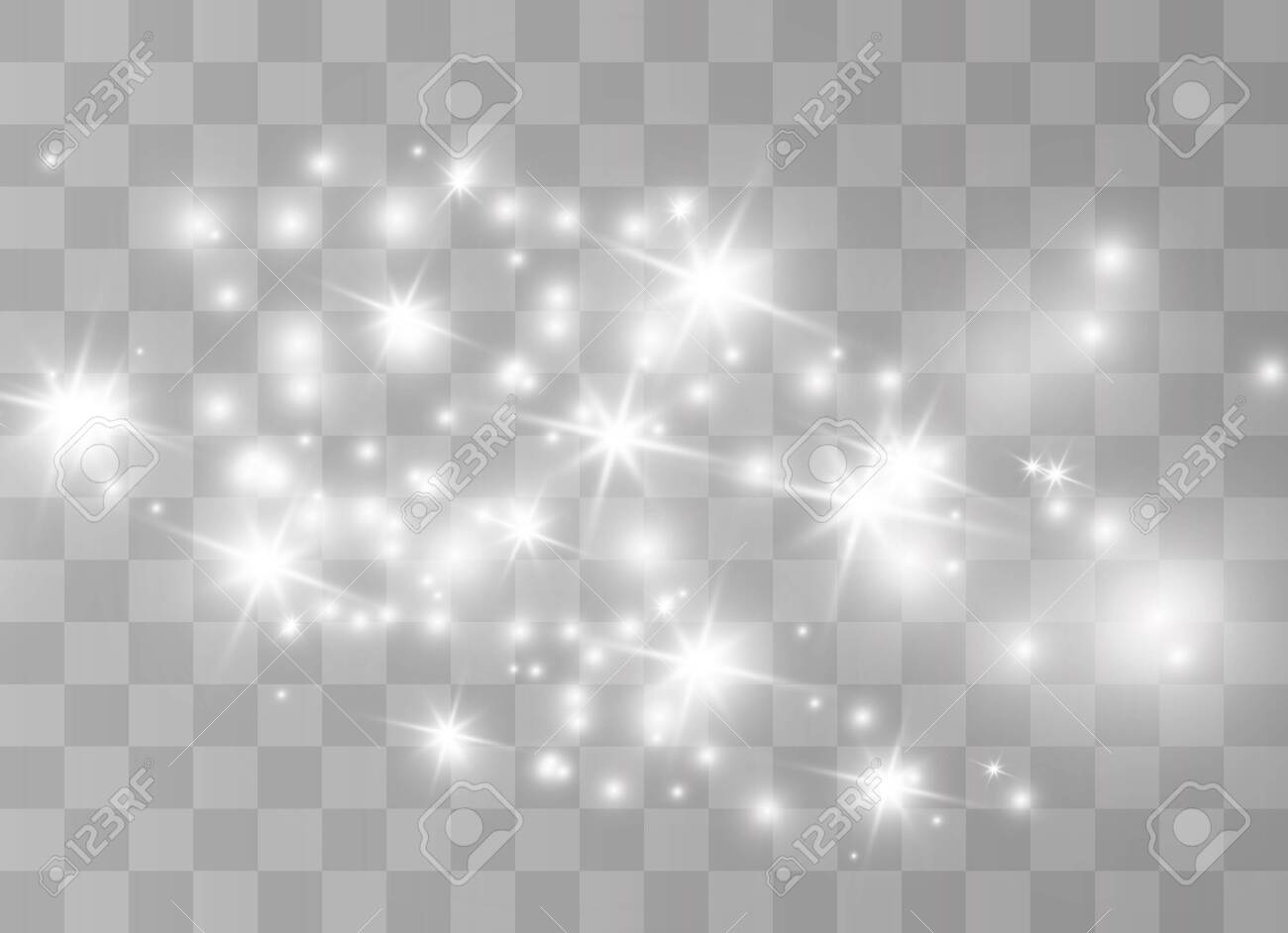 The white dust sparks and golden stars shine with special light. Vector sparkles on a transparent background. Sparkling magical dust particles. - 131427772