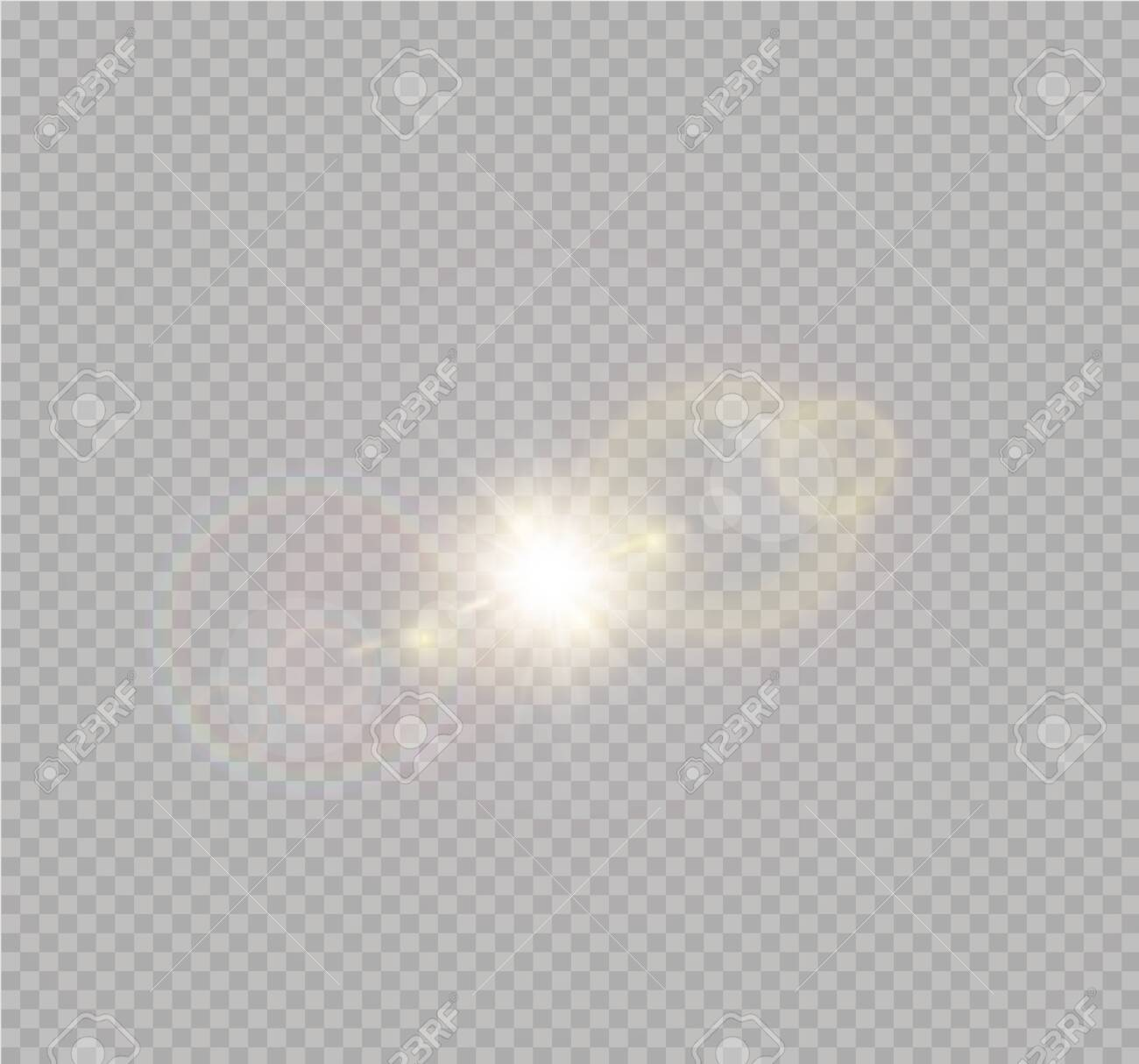 Vector transparent sunlight special lens flash light effect.front sun lens flash. Vector blur in the light of radiance. Element of decor. - 131365312