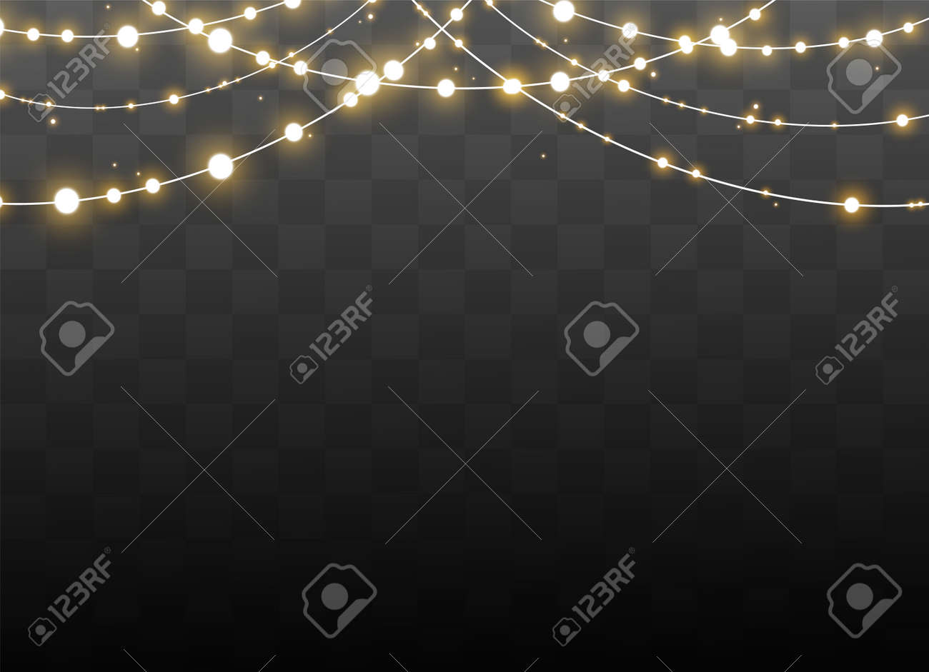 Christmas lights isolated on transparent background. Xmas glowing garland. Vector illustration - 155230786