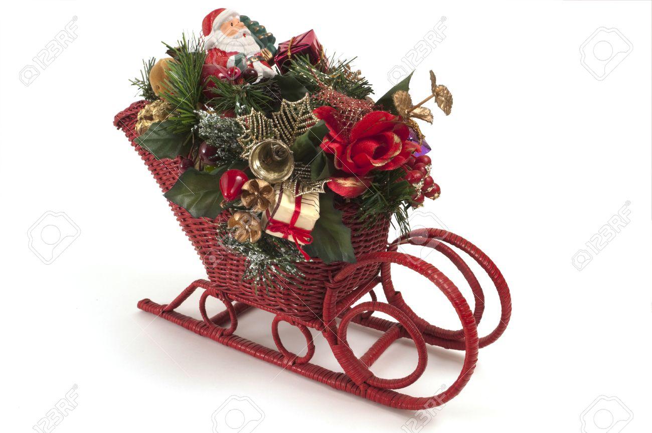 Kleine Weihnachtsschlitten Ful Von Dekorationen, Glocken, Geschenke ...