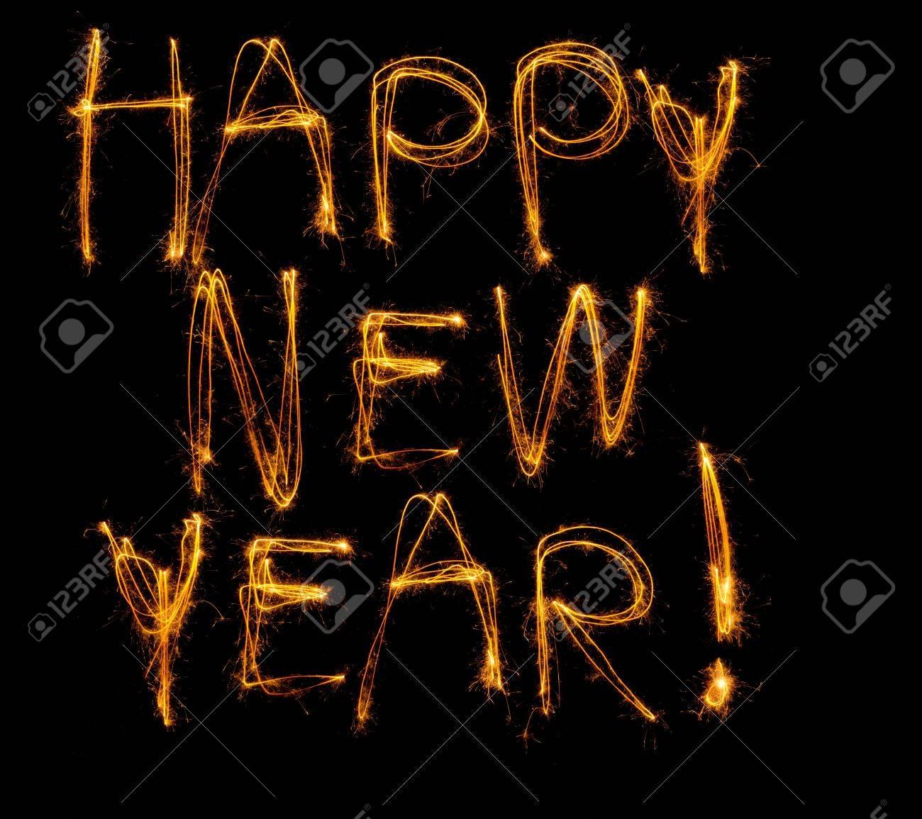 Gelukkig Nieuwjaar Geschreven In Sterretjes Geisoleerd Op Zwart
