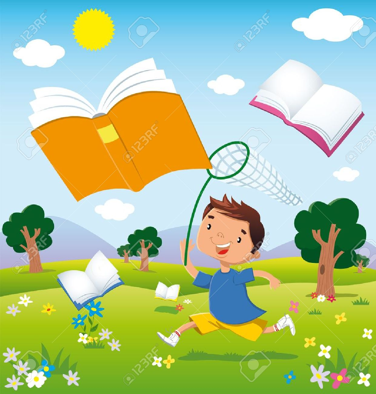 a child running through the fields in bloom chasing flying books Stock Vector - 21579716