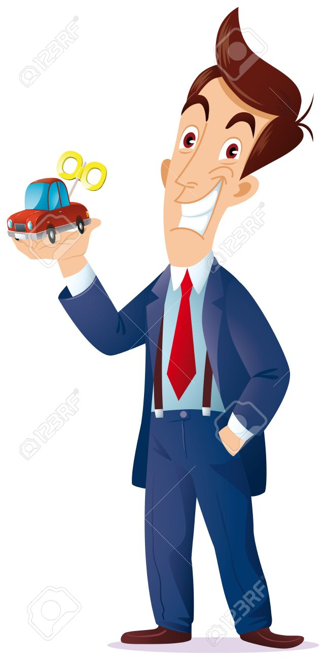 a sales representative with a toy car in his hand, I want to express the concept is as follows  for you the machine is a game or a working tool Stock Vector - 21647621