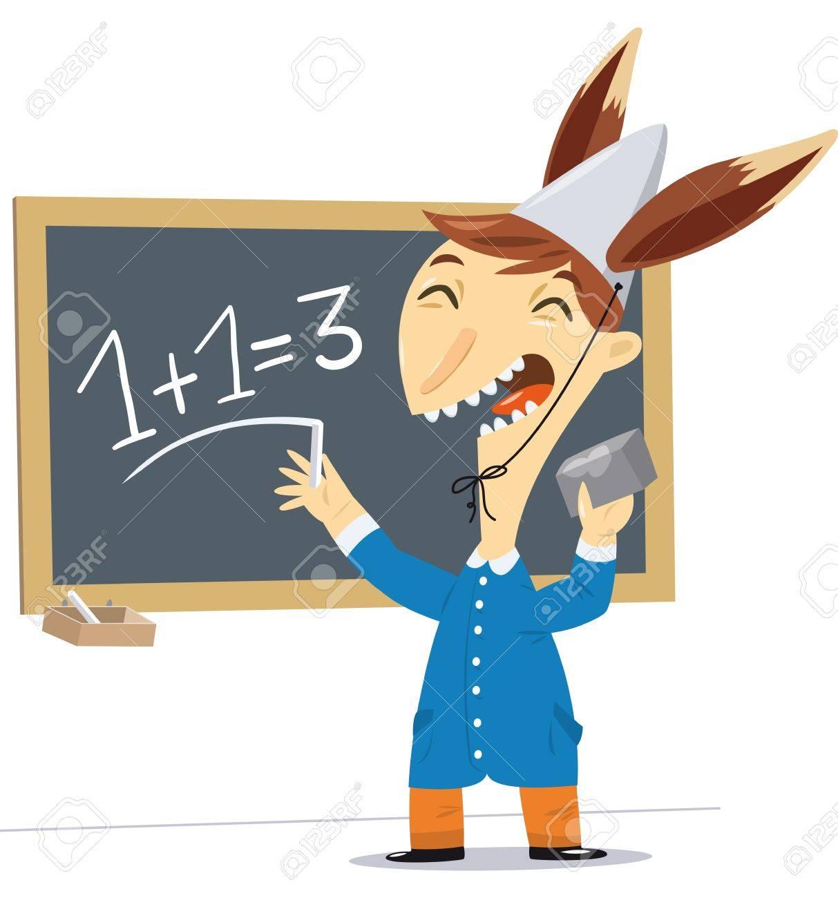 Un emoticono para tu estado de ánimo - Página 6 22156541-dibujo-de-un-ni%C3%B1o-con-un-sombrero-con-orejas-de-burro-hace-una-matem%C3%A1tica-equivocada-