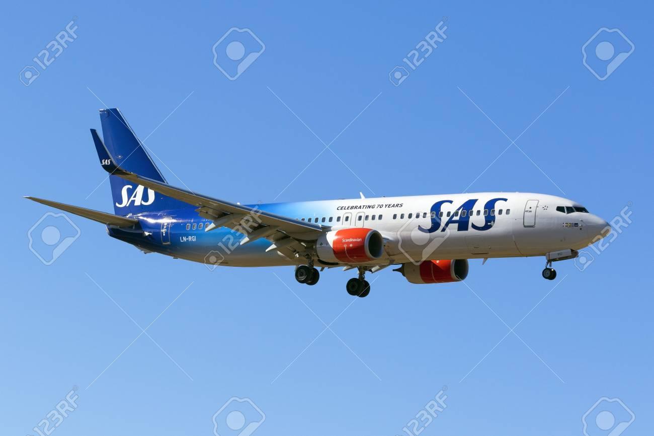 Luqa, Malta - 8 September 2016: Scandinavian Airlines - SAS Boeing 737-86N [LN-RGI] on finals runway 31. Special color scheme celebrating 70 years of SAS. - 62653954