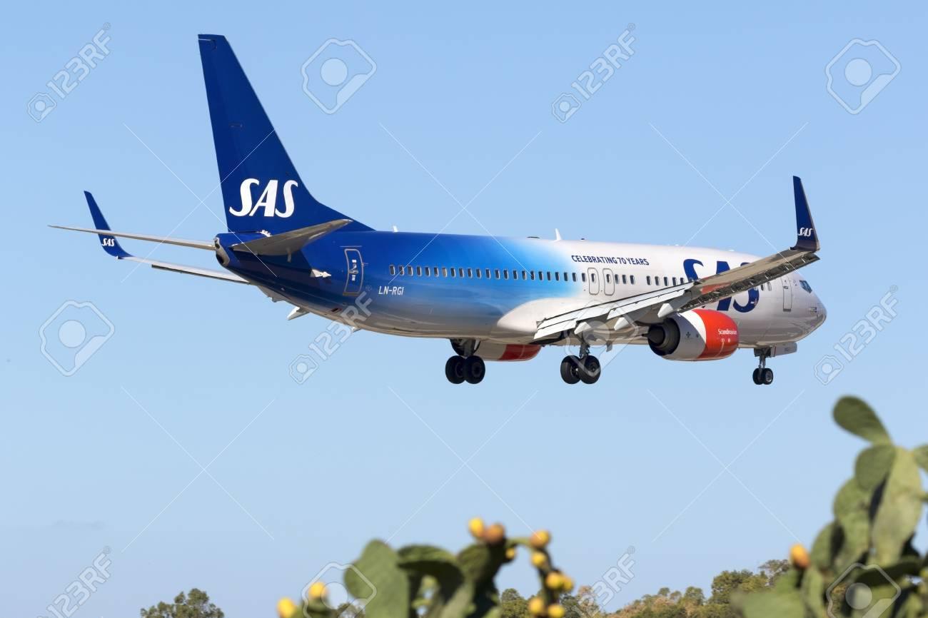 Luqa, Malta - 8 September 2016: Scandinavian Airlines - SAS Boeing 737-86N [LN-RGI] on finals runway 31. Special color scheme celebrating 70 years of SAS. - 62653956