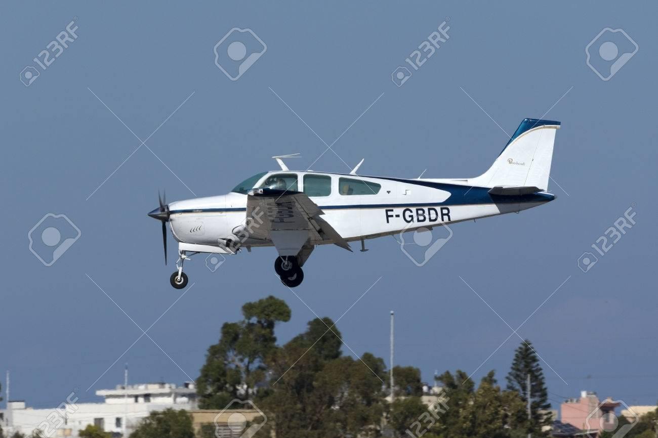 Luqa, Malta - 22 September 2016: A private Beech F33A Bonanza