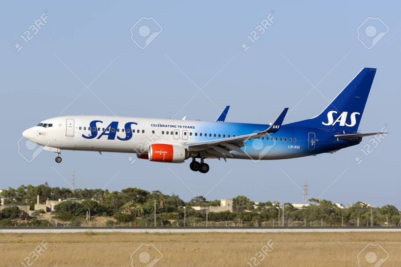 Luqa, Malta August 1, 2017: Scandinavian Airlines - SAS Boeing 737-86N [LN-RGI] in the 70th Anniversary Special color scheme. - 83511689