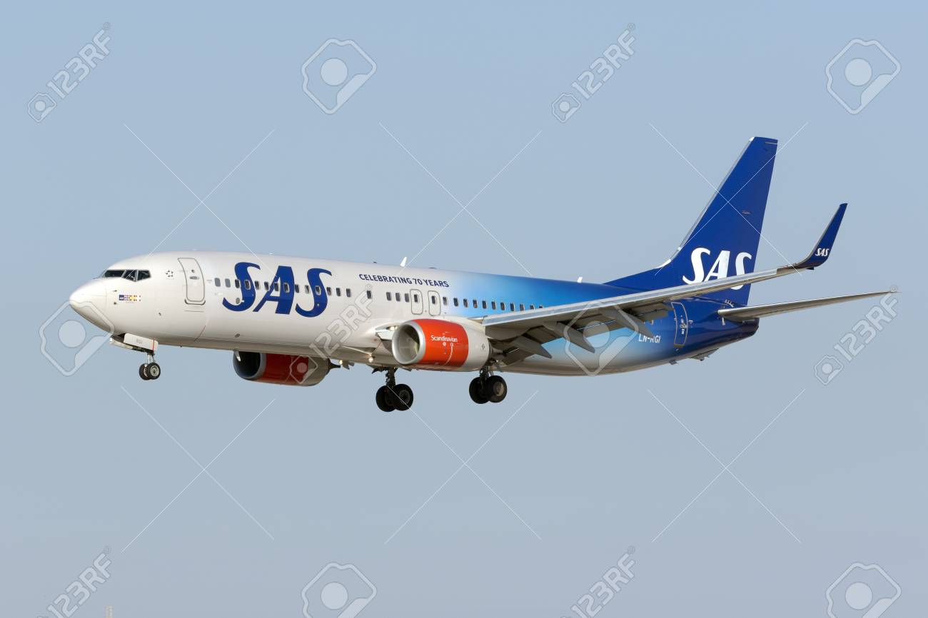 Luqa, Malta August 1, 2017: Scandinavian Airlines - SAS Boeing 737-86N [LN-RGI] in the 70th Anniversary Special color scheme. - 83511690