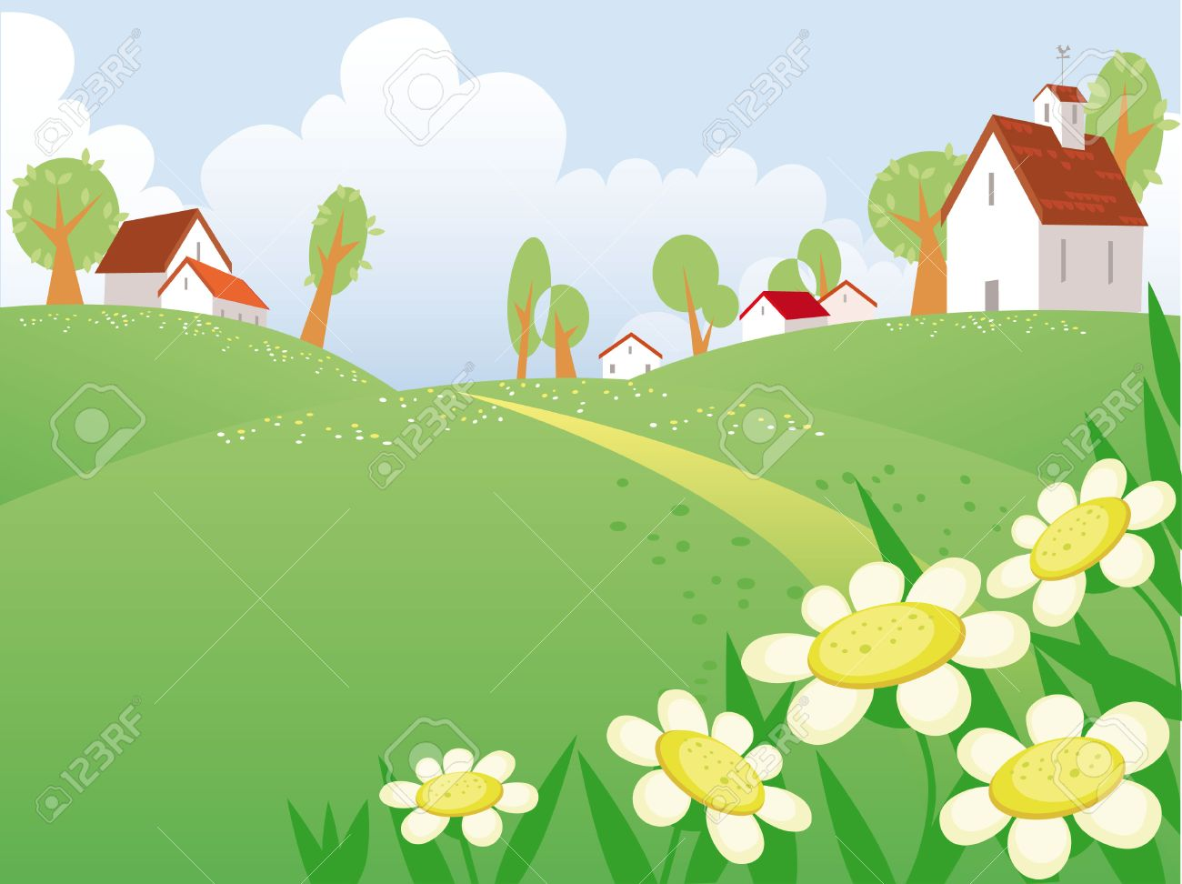 Summer day landscape with free space for your text Stock Vector - 4918199