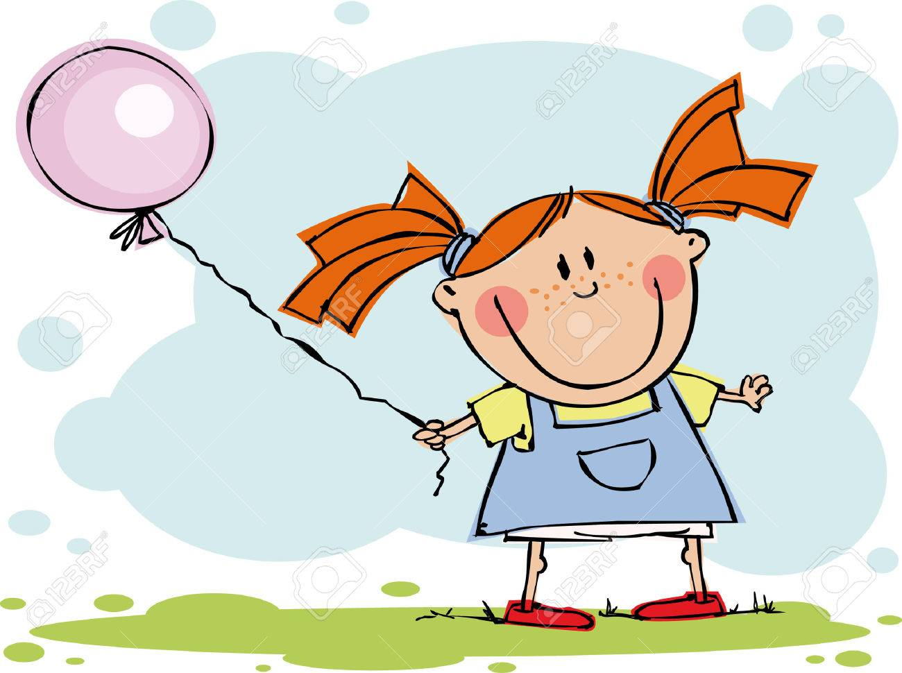 Funny girl with balloon Stock Vector - 5351133