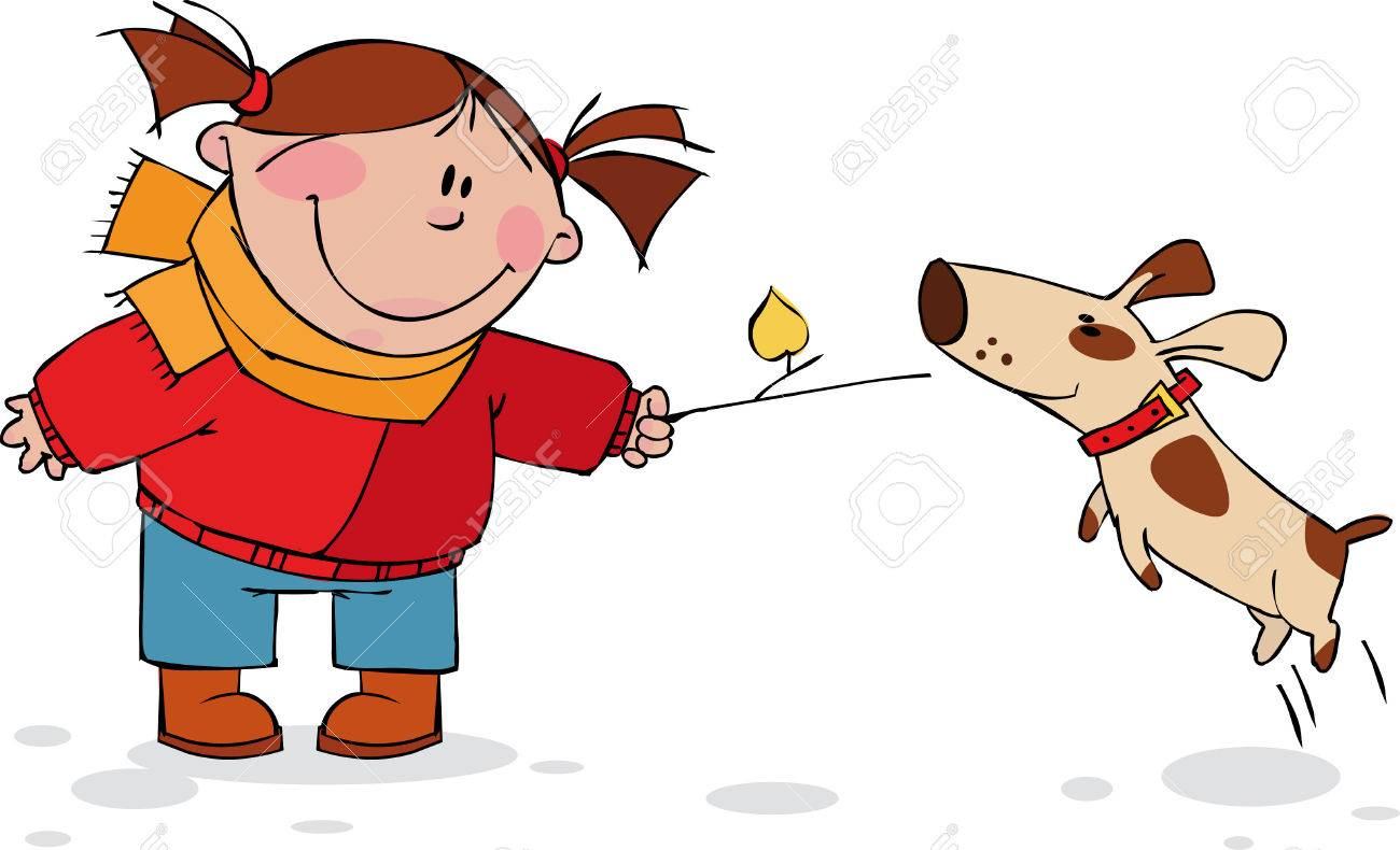 Girl playing with dog Stock Vector - 5796205