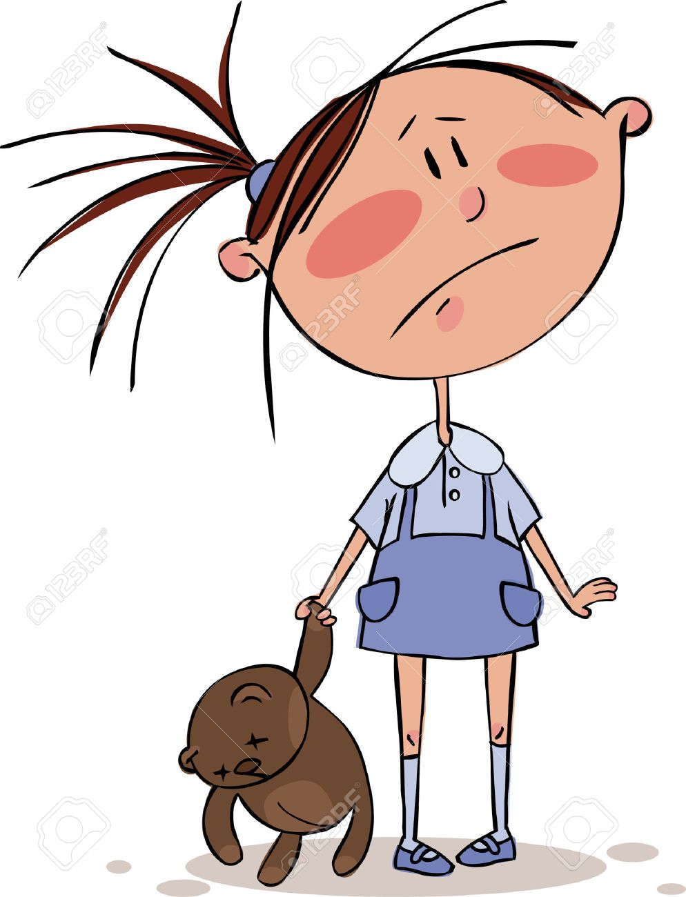 Sad Girl With The Brown Teddy Bear Royalty Free Cliparts, Vectors ...