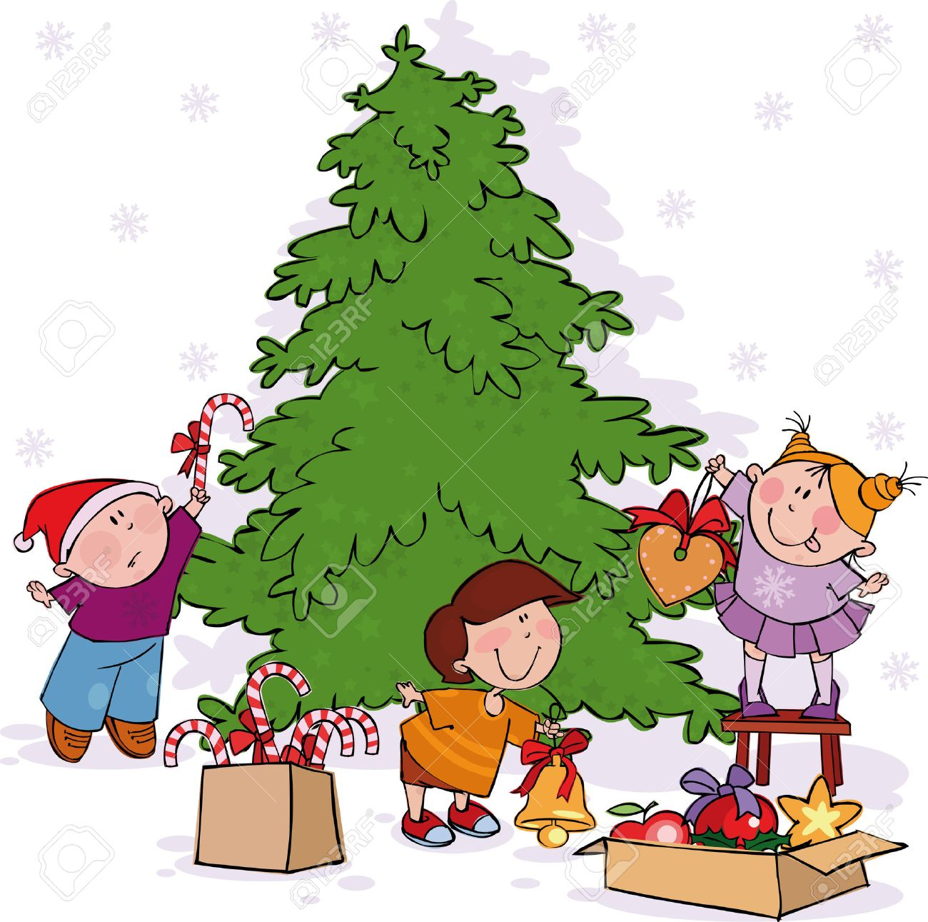 Little Kids Decorate A Christmas Tree Stock Vector 5796212