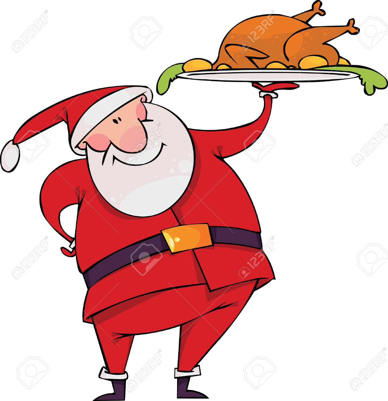 Santa with Christmas turkey Stock Vector - 8331370