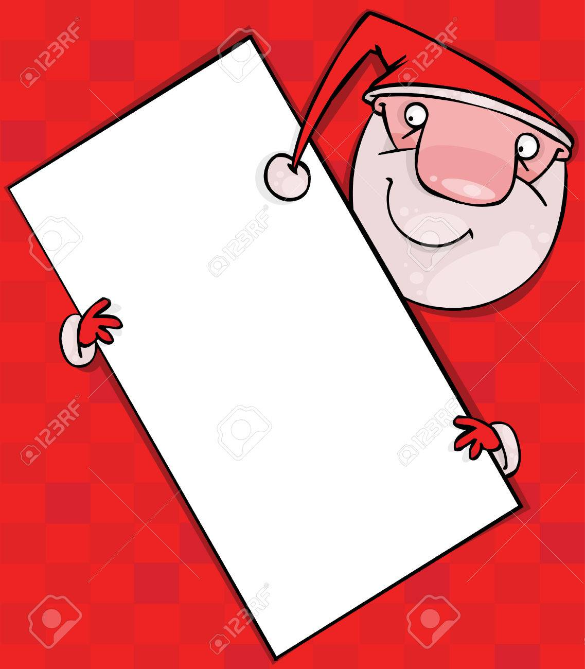 Santa with blank poster on a red background Stock Vector - 8331367