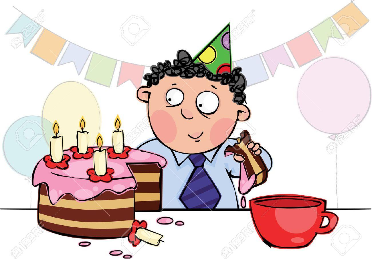 foto de archivo nio comer pastel de cumpleaos