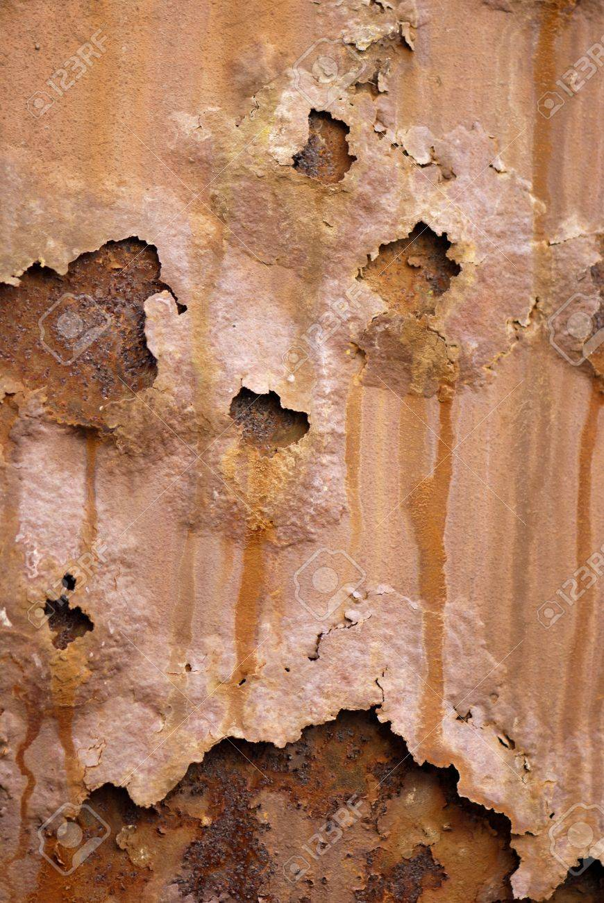 Oxidized iron plate textured by raindrops rusty Stock Photo - 13243271