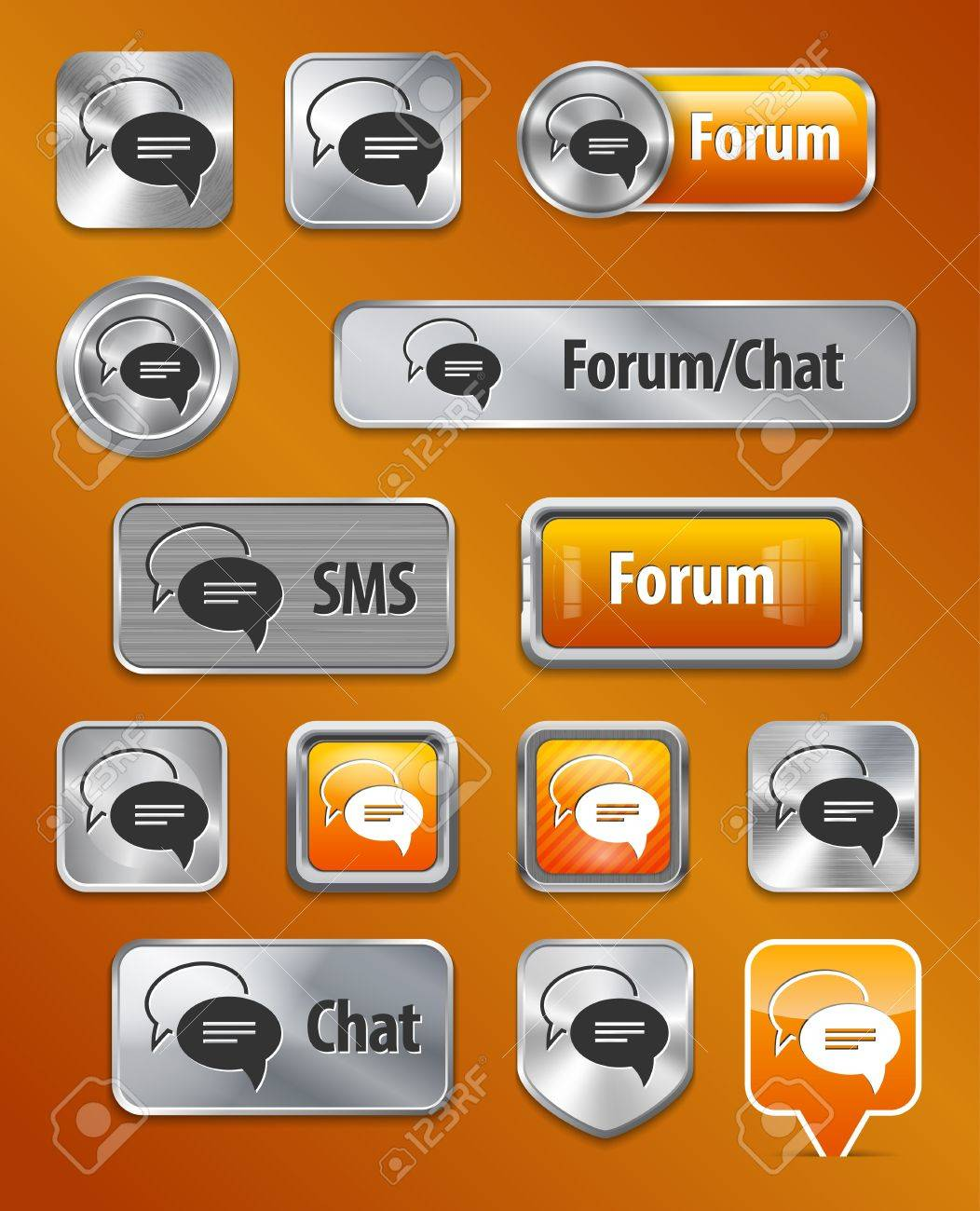 Collection Of Forum Chat Sms Metallic And Glossy Elements For