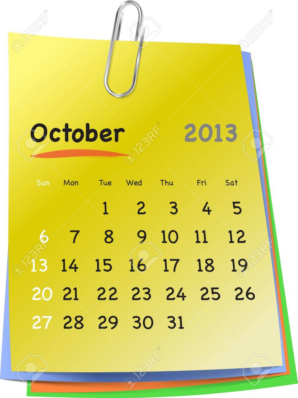 calendar for october 2013 on colorful sticky notes attached with