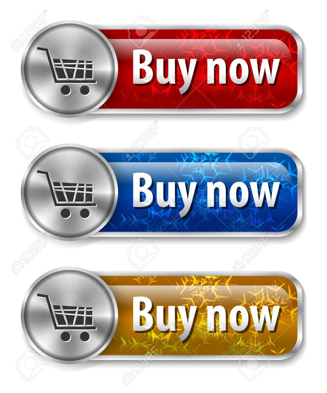 Metallic and glossy web elements/buttons with snowflakes background for online shopping. Stock Vector - 16002670