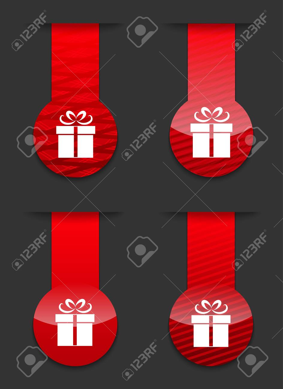 Red glossy design templates with gift icon. Stock Vector - 16002675