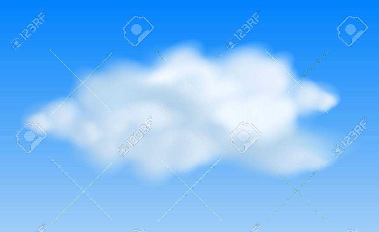 Realistic clouds in the blue sky. Stock Vector - 16136801