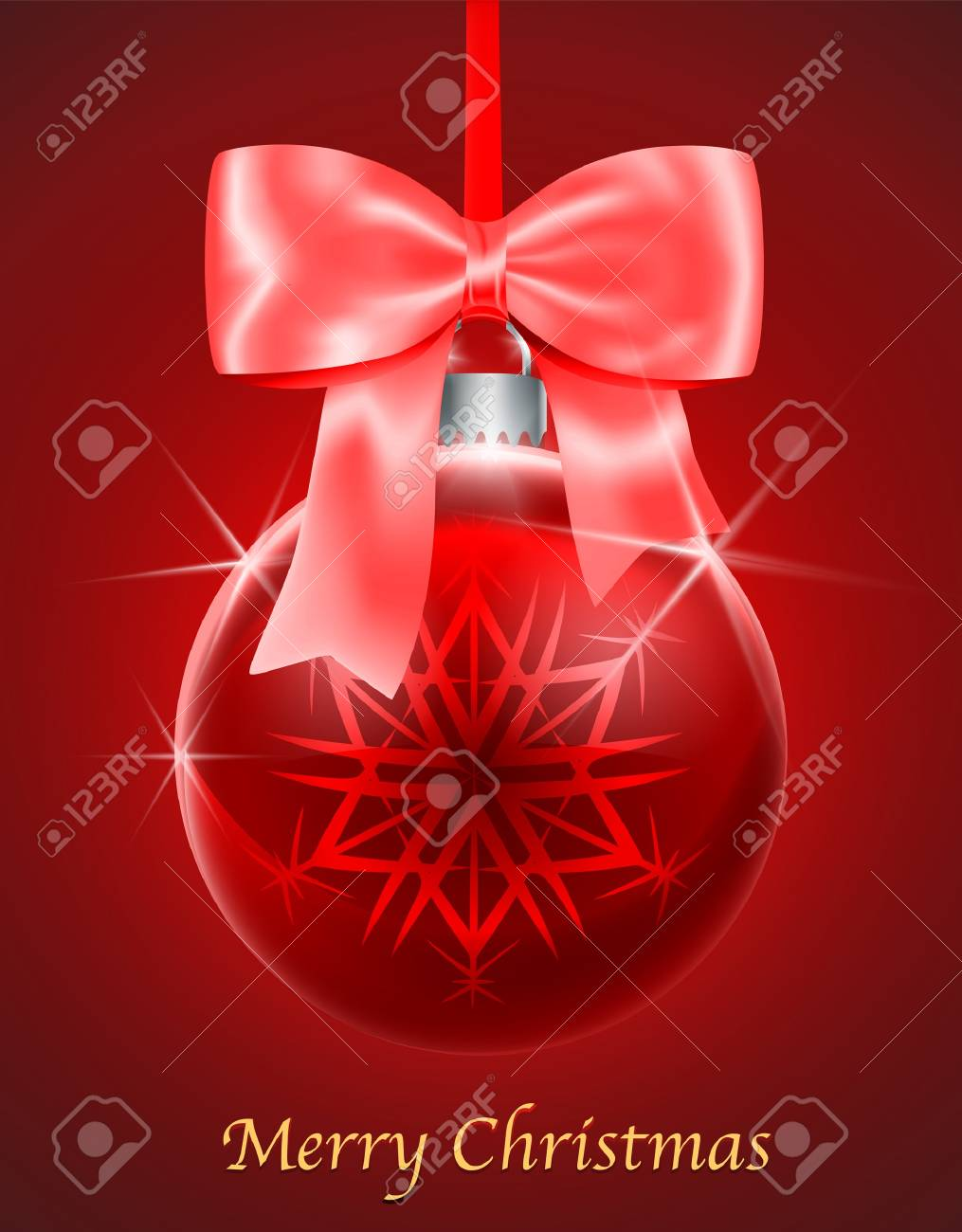 Merry Christmas Gift Card With Red Glossy Christmas Ball Tied ...