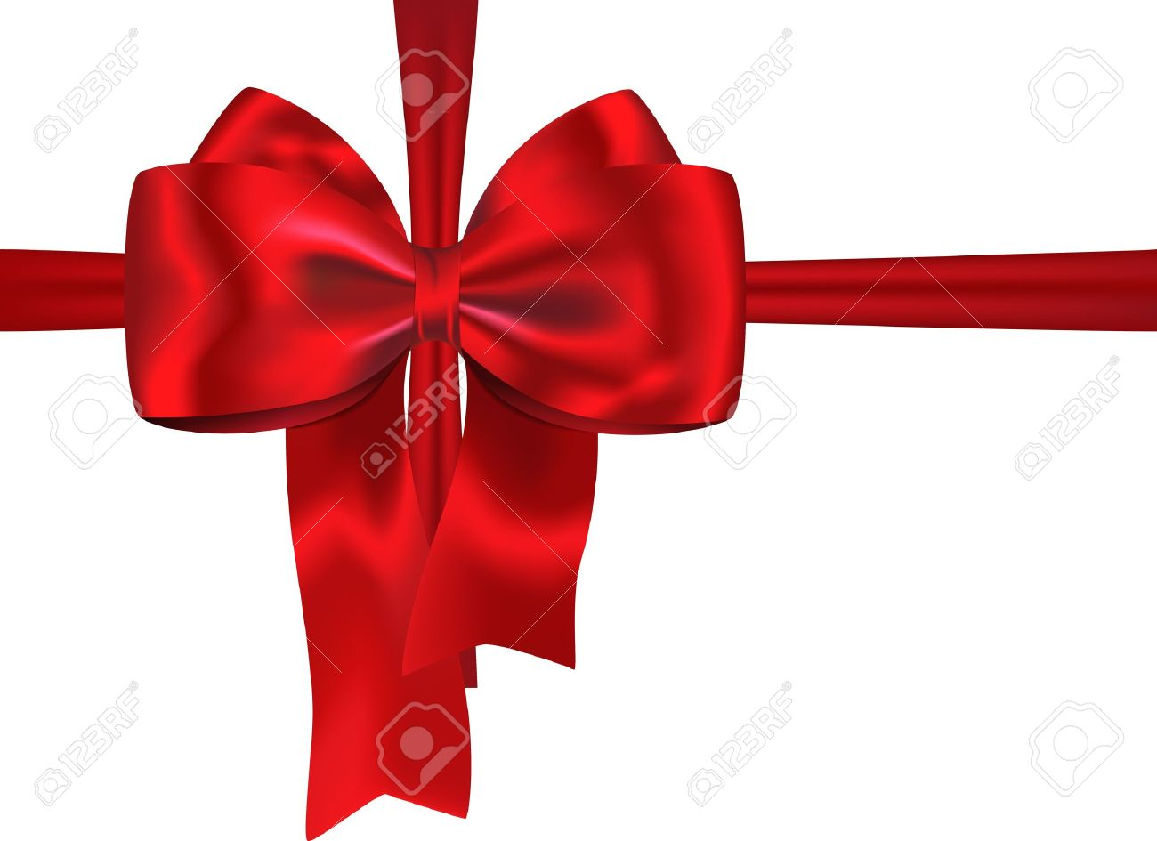 Red gift bows border with clipping path for easy background removing - Red Bow Red Gift Ribbon With Luxurious Bow Isolated On White Background