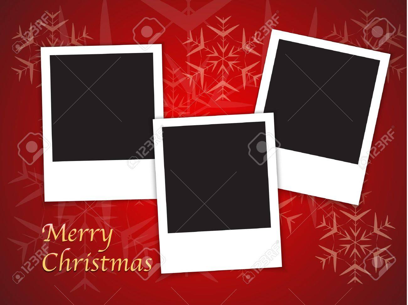 Merry Christmas Card Templates With Blank Photo Frames On Red - Free christmas card templates for photographers