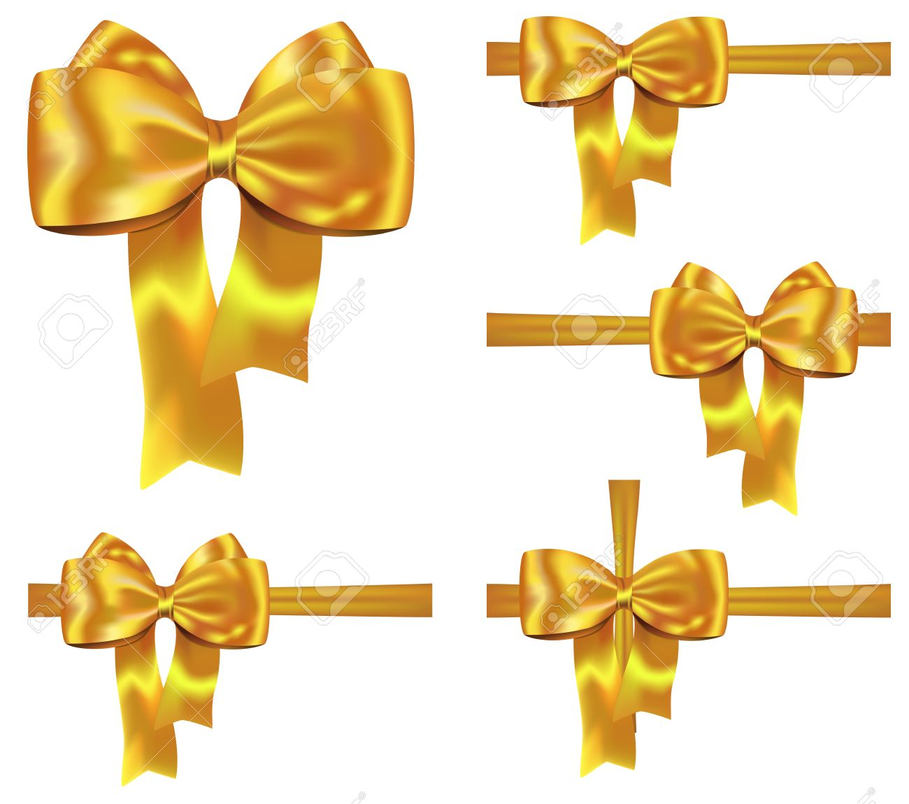 Set of golden gift ribbons with nice bows for festive decorations set of golden gift ribbons with nice bows for festive decorations stock vector 16136669 negle Image collections