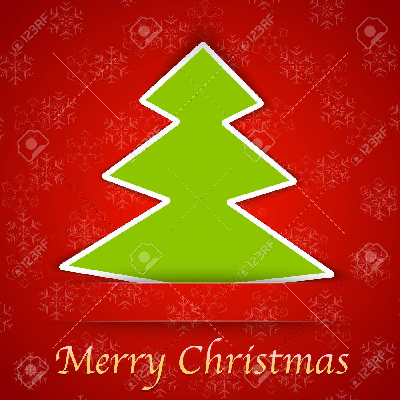 Merry Christmas Gift Card With A Simple Christmas Tree Placed ...