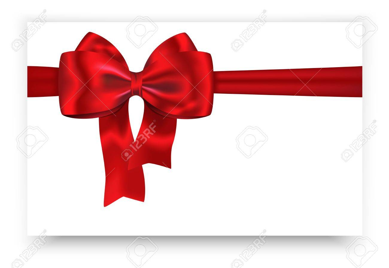 Red Ribbon And Bow For Festive Decorations Gift Card Vector