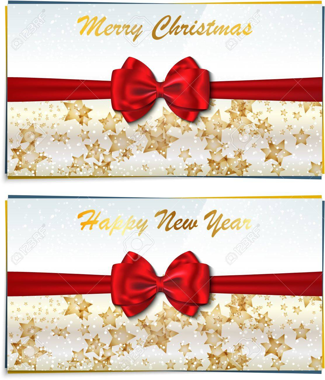 two luxury greeting cards congratulating winter holidays merry christmas and happy new year letterings vector illustration