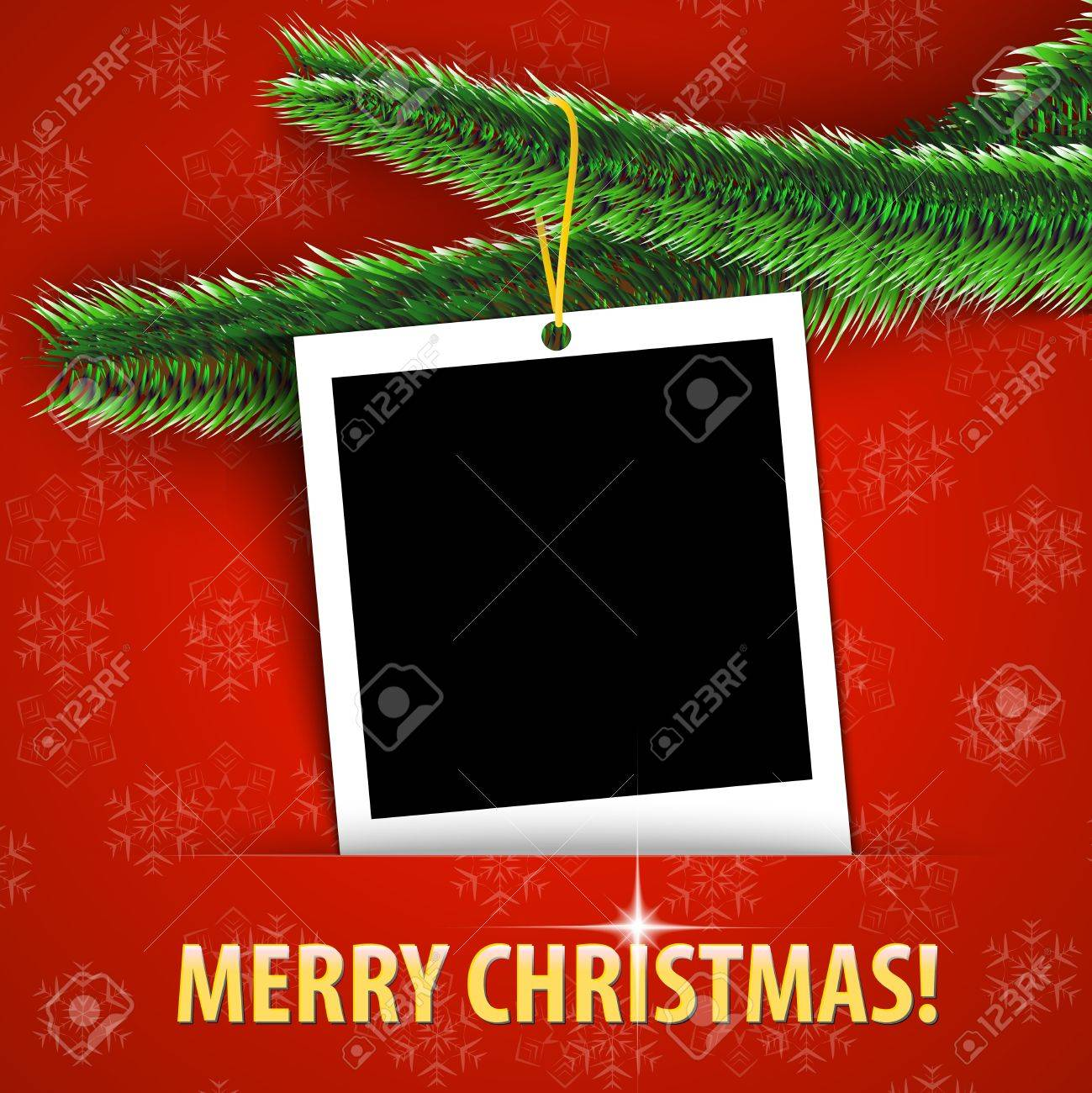 Merry Christmas Greeting Card With Blank Photo Frame Hanging ...