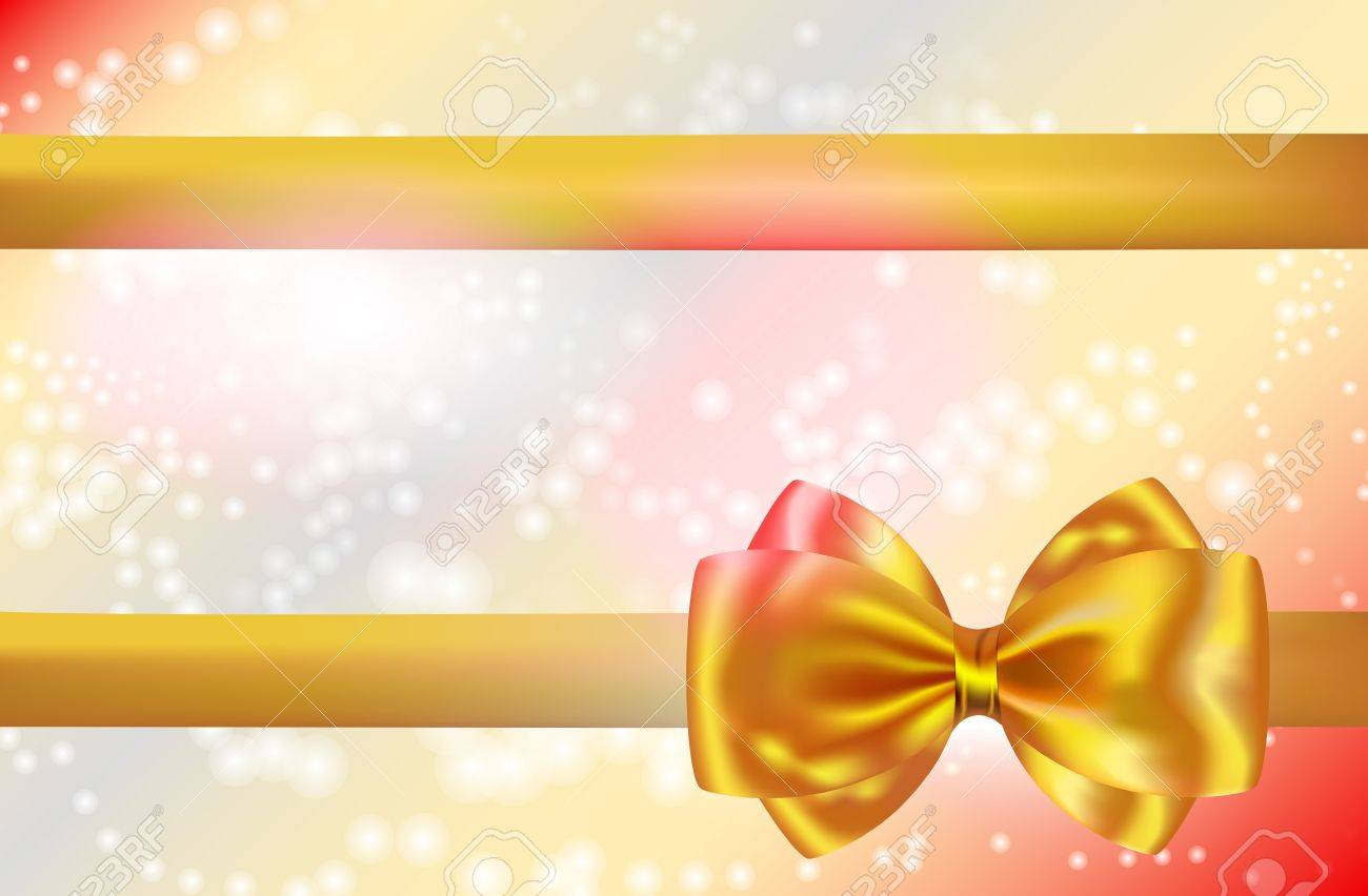 Abstract background with golden bow and ribbon. Gift card. Vector illustration Stock Vector - 16633313