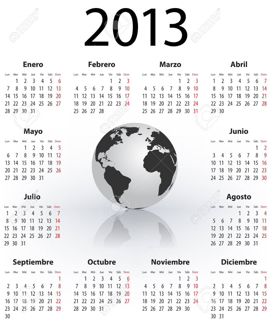 calendar for 2013 year in spanish with the world globe mondays