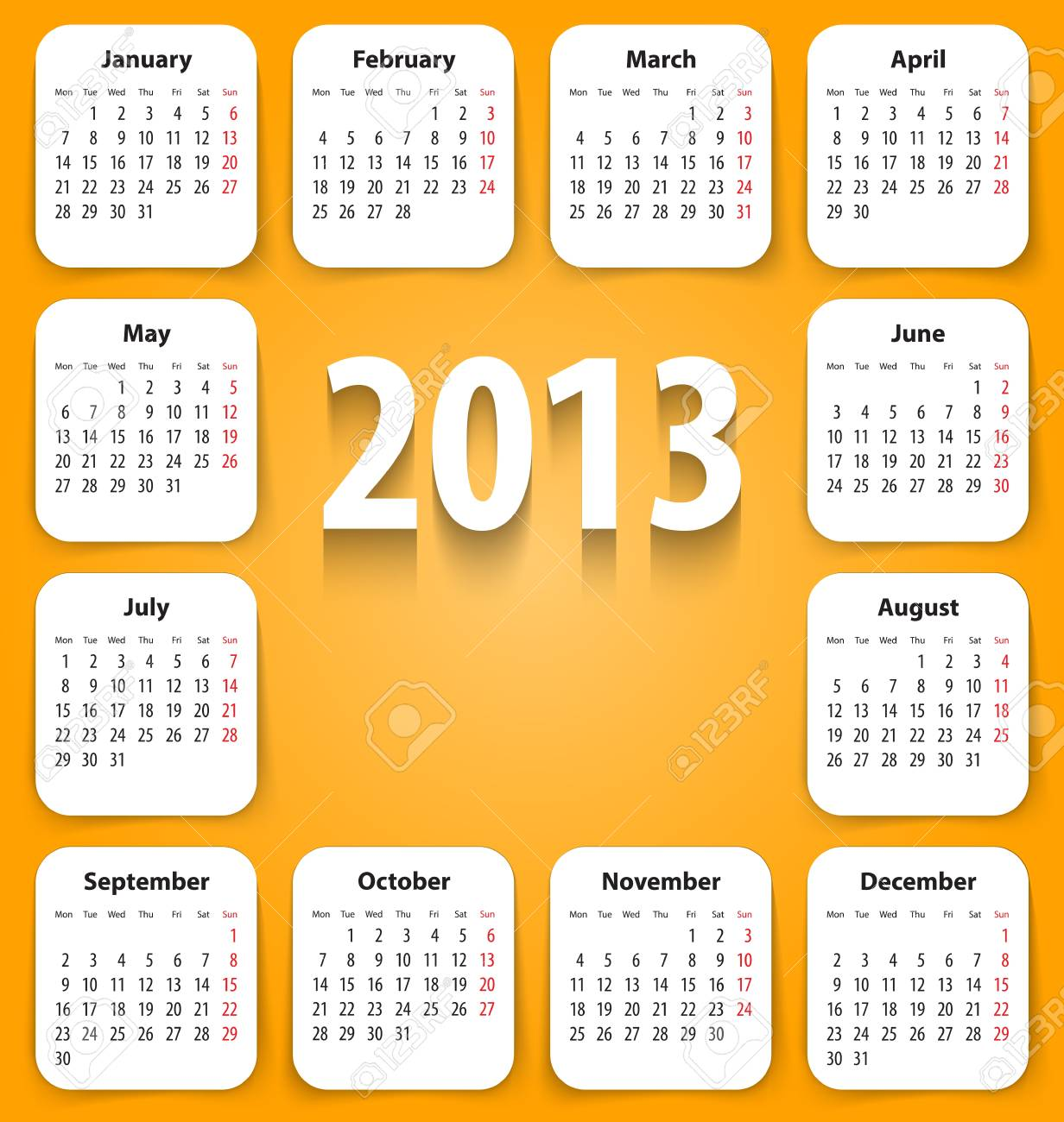 Calendar for 2013 on white stickies. Stock Vector - 16755689