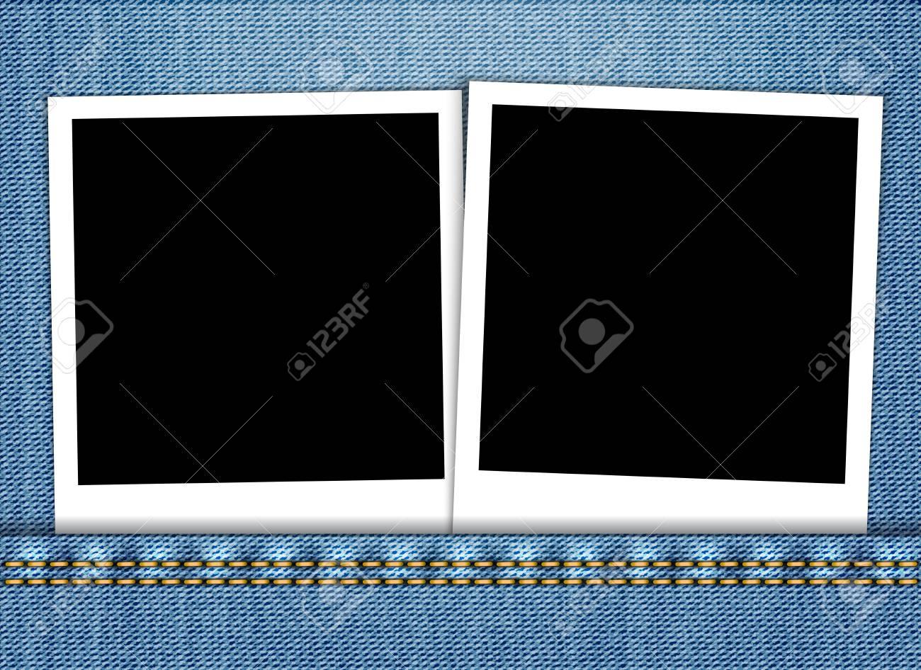 Blank photo frame in blue jeans pocket. Vector illustration Stock Vector - 17988468